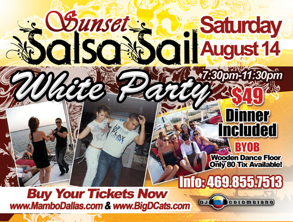Sunset Salsa Sail will be Saturday August 14th 7.30 - 11.30pm.